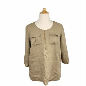 Ellen Tracy Taupe Linen 3/4 Sleeve Half Zip Blouse